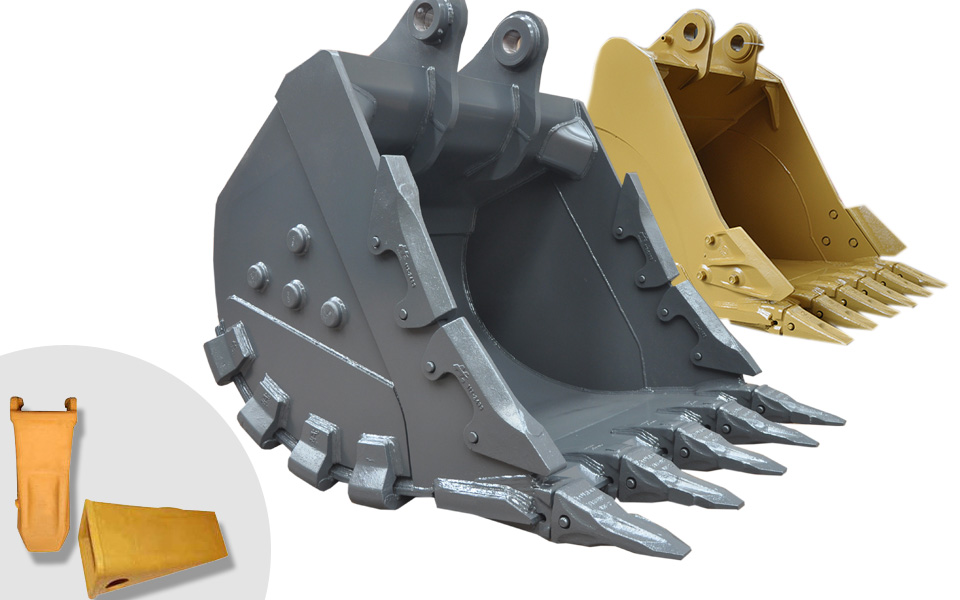 Spare parts for buckets for excavators and front loaders